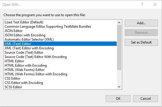 Print da tela de Open With..., com a opção XML (Text) Editor selecionada