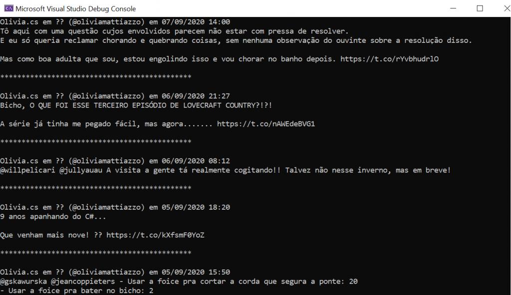 Imagem com os tweets mais recentes da conta @oliviamattiazzo printados em um console do .NET