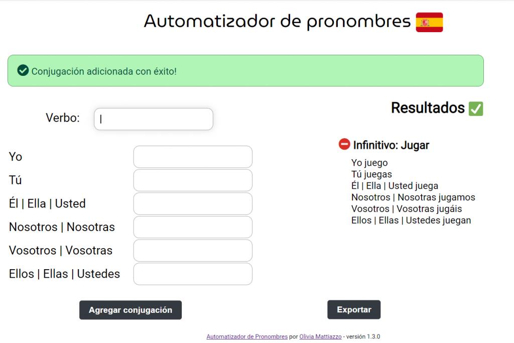 Print da tela de como o Automatizador de pronombres está atualmente