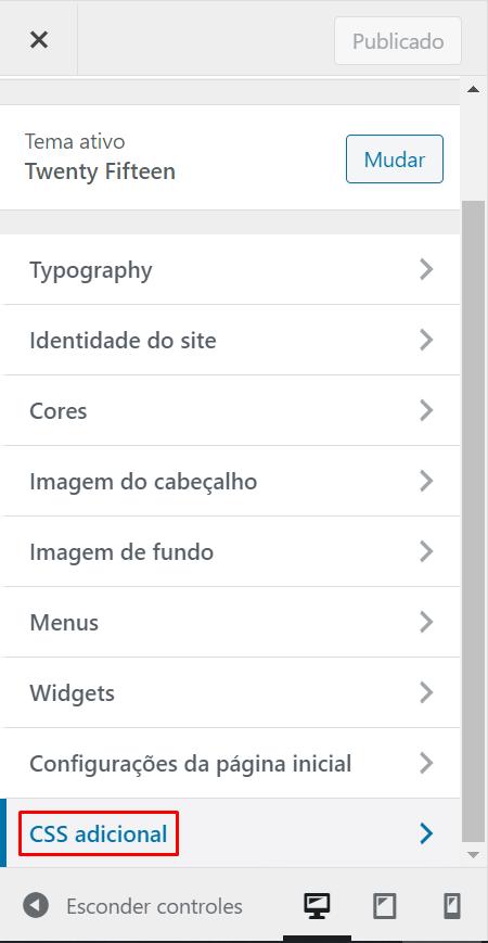 Imagem ilustrativa do que foi explicado no parágrafo anterior: menu de personalização do WordPress, com opções como Typography, Identidade do site, Cores, Imagem do cabeçalho, Imagem de fundo, Menus, Widget, Configurações da página inicial e CSS adicional