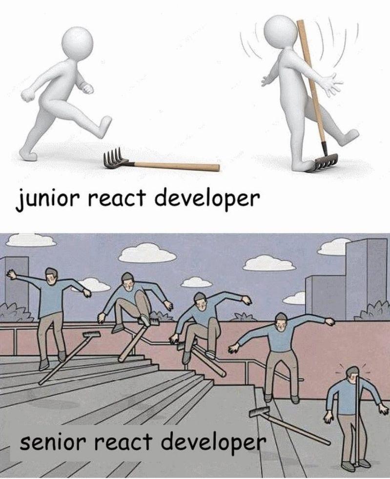"""Um bonequinho andando e pisando em uma ferramenta somente, com a legenda """"Junior React Developer"""" Um homem fazendo uma super manobra com a ferramenta e depois pisando nela tal qual o boneco anterior, com a legenda """"Senior React Developer"""""""